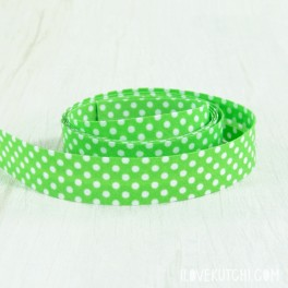 "Bias tape ""green dots"""